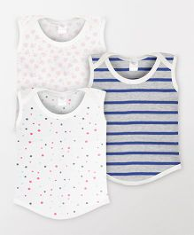 Color Fly Sleeveless Printed T-Shirt Pack Of 3 - White & Navy Blue