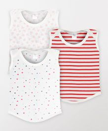 Color Fly Sleeveless Printed T-Shirt Pack Of 3 - White & Red