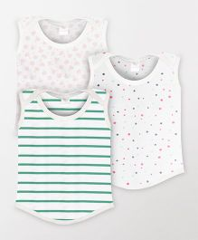 Color Fly Sleeveless Printed T-Shirt Pack Of 3 - White & Green