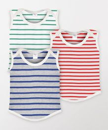 Color Fly Sleeveless Striped T-Shirt Pack Of 3 - Red Blue Green