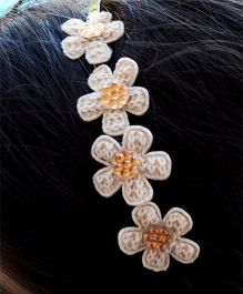 Pretty Ponytails Embroidered Flower Hairband - Off White