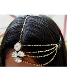 Pretty Ponytails Kundan Boho Matha Patti Tikka - Golden