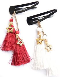 Pretty Ponytails Set Of 2 Boho Tassels Hair Clip - Red & White