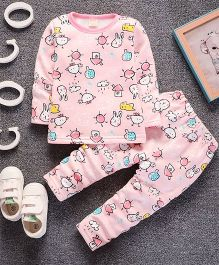 Pre Order - Awabox Funny Bunny Printed Top & Bottom - Pink