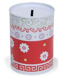 Cylindrical Money Bank Floral Printed Red White - Height 10 cm