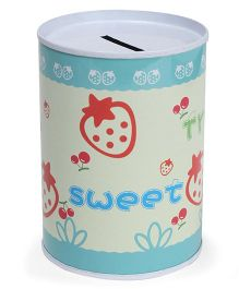 Cylindrical Money Bank Strawberry Printed Blue White - Height 10 cm