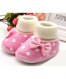 Angel Closet Soft Booties Bow Applique - Pink