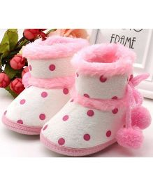 Angel Closet Warm Winter Booties Polka Dots - Pink & White