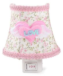 Floral Printed With Heart Applique Night Lamp - Pink