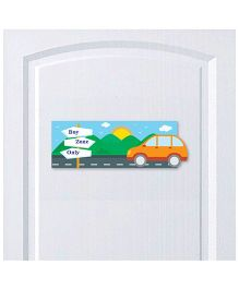 Little Jamun Car Themed Door Sign - Multicolor