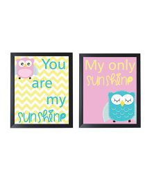 Little Jamun Owl Quote Print Frames Multicolor - Set of 2