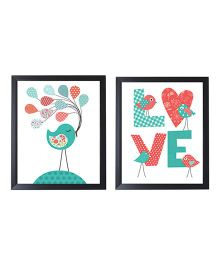 Little Jamun Love Bird Print Frames Multicolor - Set of 2