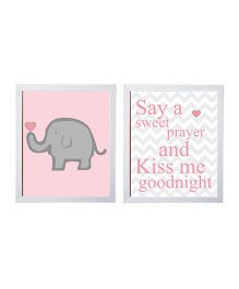 Little Jamun Elephants And Quote Frames Pink White - Set of 2