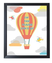 Little Jamun Quote And Hot Air Ballon Design Frames - Black