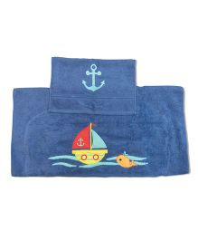 Little Jamun Bath Towel With Hand Towel Boat Patch - Blue