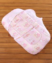 Babyhug Printed Mosquito Net with Mattress - Pink
