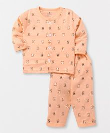Child World Full Sleeves Night Suit Bear Print - Peach