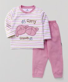 Child World Full Sleeves Winter Wear Set Furry Friends Embroidery - Pink