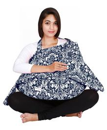 Lulamom Printed Nursing Cover & Feeding Pillow Combo - Blue