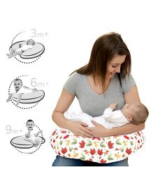 Lulamom Allergen Protected Soft Feeding Pillow Floral Print - White & Red