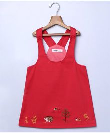 Beebay Dungaree Style Frock Forest Creatures Embroidery - Red