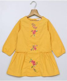 Beebay Long Sleeves Floral Embroidered Dress - Yellow