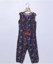 Beebay Sleeveless Jumpsuit Floral Print - Navy Blue