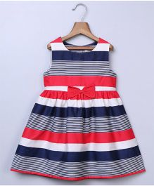 Beebay Sleeveless Dress Bow Applique - Navy Red