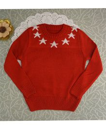 Blossoms From KnittingNani Star Design Sweater - Red
