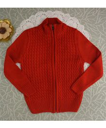 Blossoms From KnittingNani Classic Zipped Sweater - Red