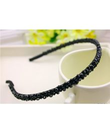 Flaunt Chic Two Layer Crystal Shiny Hair Band - Black