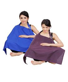 Lulamom Full Coverage Extra Wide Nursing Covers Pack of 2 - Royal Blue Purple