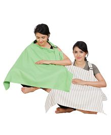 Lulamom Full Coverage Extra Wide Nursing Covers Pack of 2 - Green Beige