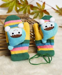 Superfie Teddy Applique Mittens - Multicolor