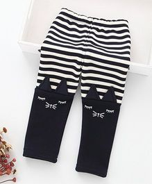 Hopsy Stripes Printed Double Shaded Winter Leggings - Black