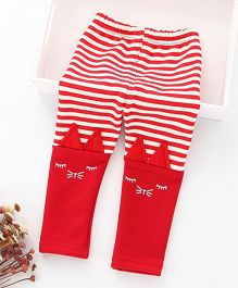 Hopsy Stripes Printed Double Shaded Winter Leggings - Red