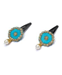 Funkrafts Ethnic Pearl Applique Hair Clip - Blue