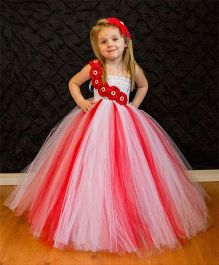 Indian Tutu Smart Frilly Dress - Red And White