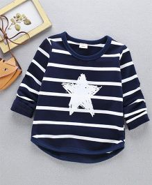 Pre Order - Awabox Striped Star Print Full Sleeves Tee - Navy