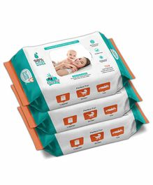 Buddsbuddy Skincare Wet Baby Wipes Combo of 3 White - 72 Pieces