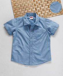 Babyhug Half Sleeves Solid Shirt - Sky Blue