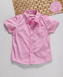 Babyhug Half Sleeves Solid Shirt - Pink