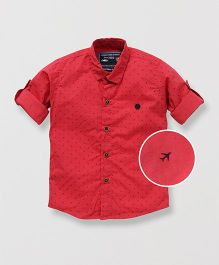 Jash Kids Full Sleeves Shirt Airplane Print - Red