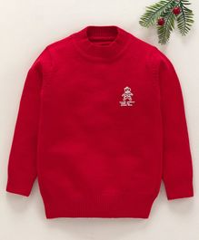 Zonko Style Crew Neck Solid Sweater - Red