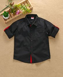 Babyhug Full Sleeves Solid Color Shirt - Black