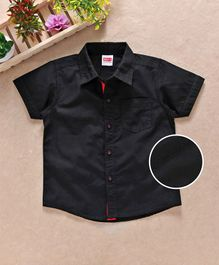 Babyhug Half Sleeves Solid Shirt With Pocket - Black
