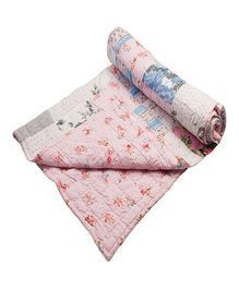 NeedyBee Reversible Handmade Floral Patchwork Cotton Quilt - Pink