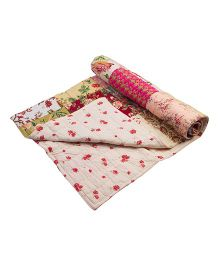 NeedyBee Reversible Handmade Floral Patchwork Organic Cotton Quilt - Multicolor