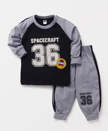 Teddy Full Sleeves T-Shirt And Track Pant Spacecraft Patch - Navy Blue