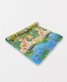 Garden & Lake View Printed Play Mat - Blue Multi Colour